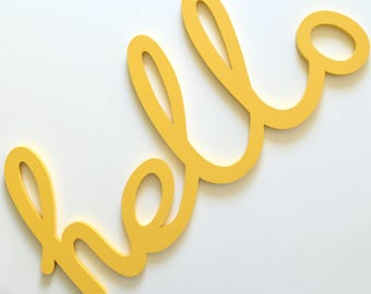 Hello Sign - Large Wooden Hello - Hello Cut Out