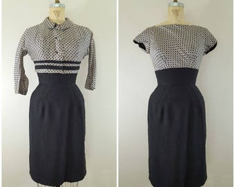 Vintage 1960s Dress and Jacket Set / Wiggle Dress and Cropped Jacket / Houndstooth Print / XS-Small