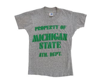 Vintage 70's Michigan State University Property of Athletic Department Tri Blend Gym Gray Kid's T-Shirt, Made in USA - Small