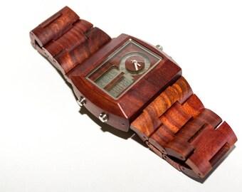Wood quartz wrist watch
