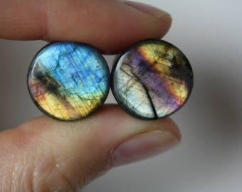 """9/16"""" Rainbow Labradorite Plugs"""