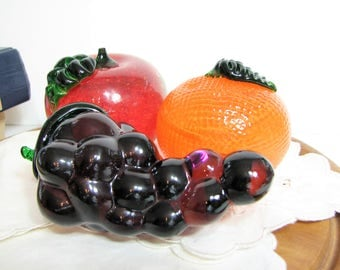 "Luscious Art Glass Fruit Trio, Set of 3, Vintage Hand Blown Fruit Paperweights, ... Red Apple 2.75"", Orange 2.5"", Grapes 5"""
