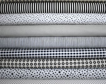 Low Volume, Cream & Black Fabric Bundle of 9 by Henry Glass, and Moda