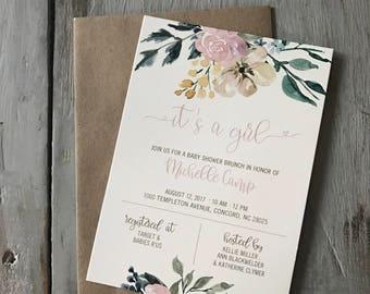 PRINTED Watercolor flower shower invites