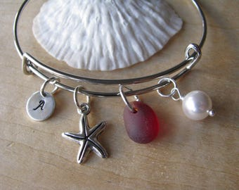 Red sea glass bracelet  adjustable red bridesmaid bracelet starfish jewelry letter charm beach wedding personalized bridesmaid gift