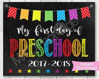 My First Day of Preschool Chalkboard sign, Instant Download, 1st Day of School printable, Back to school, Preschool graduation invite