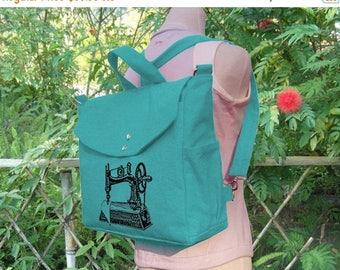 On Sale 20% off Turqoise Green cotten canvas backpack, sewing machine screenprinted backpack, canvas messenger bag, travel bag, hand bag, sh