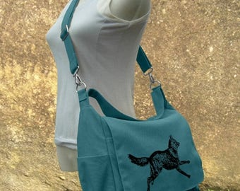 On Sale 20% off Teal green travel messenger bag with screen print, school bag for girls and boys, womens shoulder bag