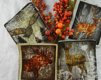 Quilted Coasters (4) -  Forest Animals #3