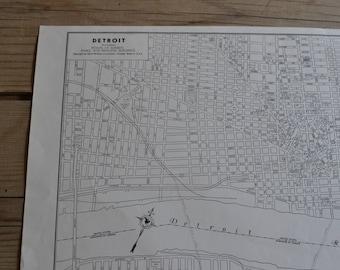 City of Detroit Michigan Black & White Map Print Vintage