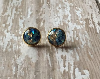 Blue and gold opal studs
