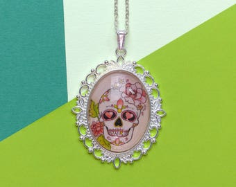 Sugar Skull On A Bed Of Roses Tattoo Day Of The Dead Handmade Glass Cabochon Necklace
