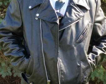 Vintage early 90s Mens Brooks Black Leather Motorcycle Jacket