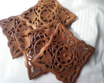 Vintage Four Beautiful Carved Matching Wood Trivets