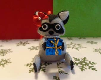 Mrs. Linda Raccoon Christmas Ornament by Pepperland