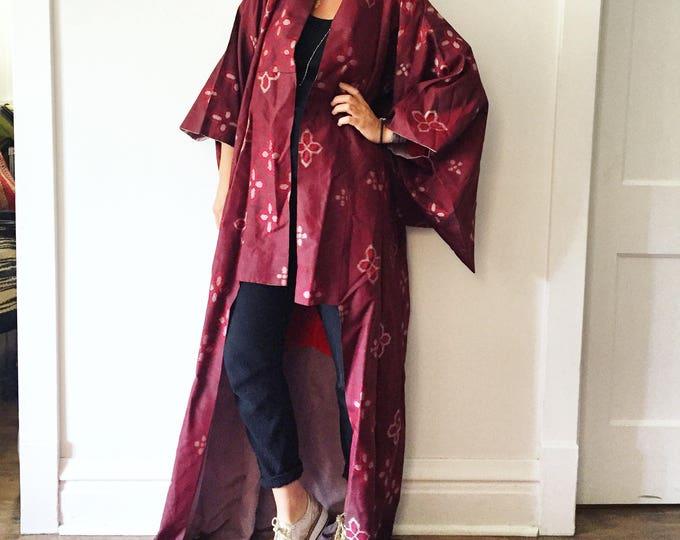 Featured listing image: Vintage Japanese Silk Kimono, Ikat Print Maxi Kimono