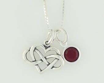 Infinity Heart Pendant Necklace Sterling Silver Red Swarovski Crystal Accent