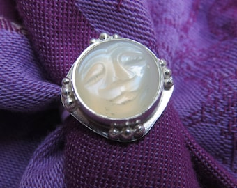 Carved Moon Face Large White Moonstone in Sterling Ring Size 9 & a Half