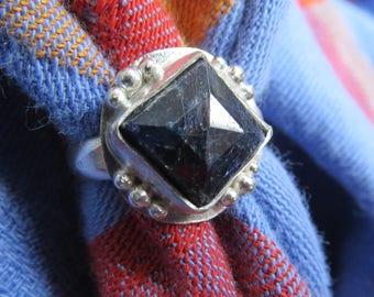 Square Cut Dark Blue Sapphire in Granulated Argentium Ring Size 6