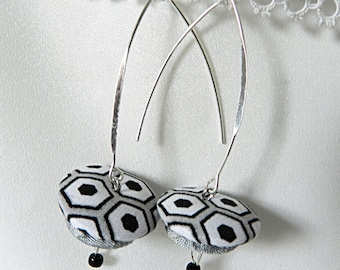 Earrings, black and white graphic fabric