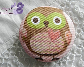 Fabric buttons, owl, 1.25 in / 32 mm