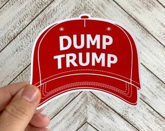 dump trump red hat bumper sticker   anti trump decal   vinyl sticker
