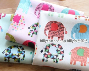 m339- elephant fabrics -  cotton fabrics -  in Half Yard ( 3 color to choose)