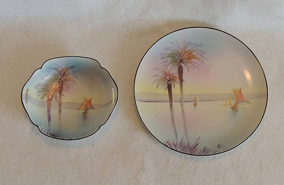Vintage Hand Painted Nippon Plate & Bowl.. Sail Boat Scene With Palm Trees
