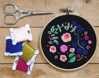 Nocturnal Blooms. Embroidery Pattern. Flora and Fauna Series.