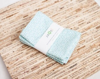Small Cloth Napkins - Set of 4 - (N2598s) - Light Blue Aqua Snowflake Modern Reusable Fabric Napkins