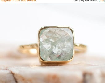 40 OFF - Aquamarine ring - March Birthstone Ring - Gemstone Ring - Stacking Ring - Gold Ring- Cushion Cut Ring