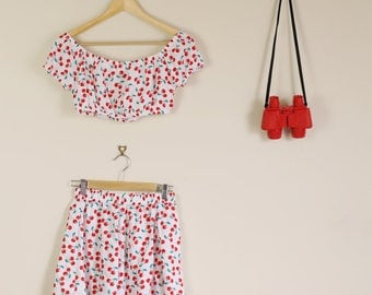 Cherry Print Twin Set Skirt and Crop Top Summer Slumber Party Lolita Matching Set 90s 60s