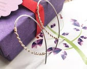 Lightweight Mixed Metal Hoop, Twisted Two Tone Earrings, Wire Wrapped Hoops, Silver Gold Hoop