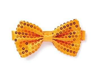 Men's Sequin Bow Tie - Orange