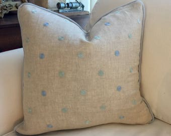 Dotted Khaki Linen Pillow Cover 18x18 inch, throw pillow/pillowcase/pillowcushion/home decor/designer fabric