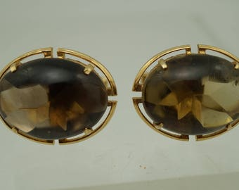 Vintage  Wrap Around Cufflinks  Smokey topaz Crystal