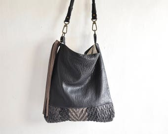 Black Woven Leather Hobo in Pebbled Leather. Grey and Black Chevron.  Tassel Detail. Ready to Ship as seen