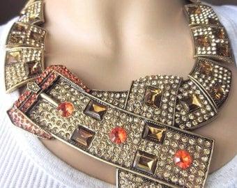 OSCAR de la RENTA Crystal Necklace Art Deco