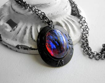Fire Opal Necklace Dragon's Breath Opal Necklace Wiccan Necklace Gothic Necklace Red Jewelry Mystical Jewelry 1920's Jewelry Art Nouveau