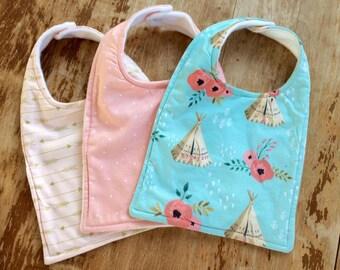 Modern Teepee Baby Bib Set, Watercolor Floral, Baby Gift, Teepee Baby Item