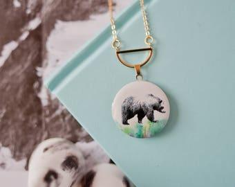 Bear Locket, Bear Necklace, Bear Pendant, Bear Charm Necklace, Bear Jewellery, Adventure Necklace, Bear Gift,  Mama Bear Gift