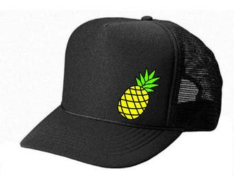 Pineapple HAT- American Subdued flag Skull - Womens mens Snap back Trucker STyle mesh hat