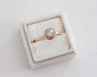 Champagne Round Rose Cut Diamond Engagement Ring | 14k Rose Gold + 14k Yellow Gold | One of a Kind