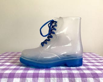 1990s clear lace-up rain boots size US women's 8