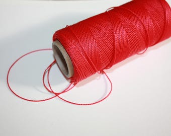 1 mm TWISTED RED Cord = 1 Spool = 110 Yards = 100 Meters of Elegant Polypropylene Rope for Macrame, Sewing, Crocheting, Knitting