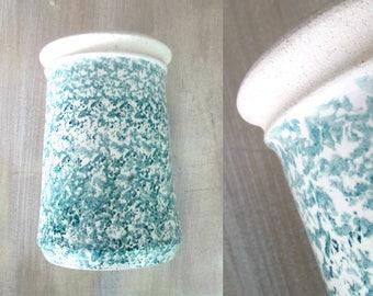 Blue & White Spongeware Pottery Large Vase Planter Kitchen Utensil Holder