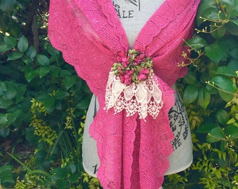 Fuchsia LACE SHAWL with  Ivory Viennese Lace Trim - Flower Bouquet Lace Brooch - Hot Pink SCARF