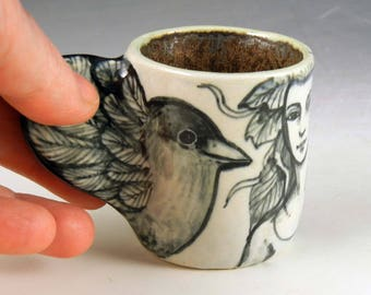 Porcelain espresso hand made winged bird cup black and white OOAK miniature