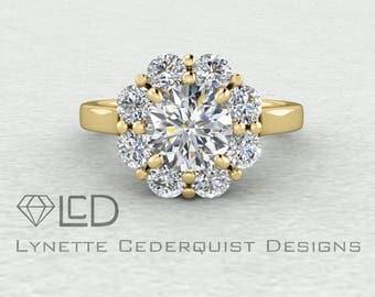 Vintage Inspired Forever One Moissanite Floral Cluster Engagement Ring LCDH054