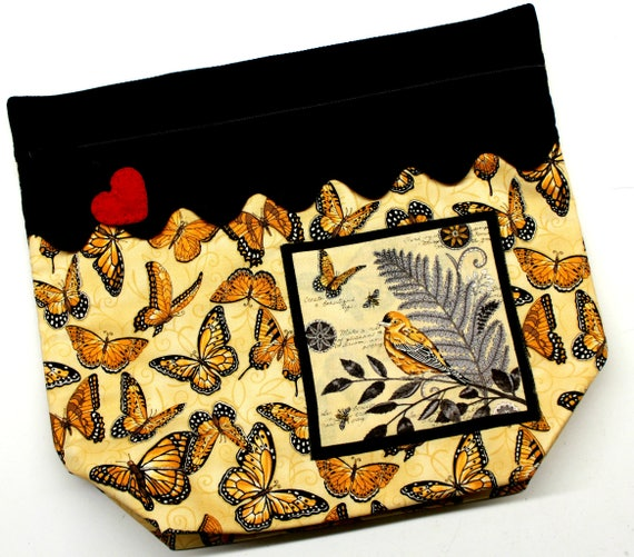 Big Bottom Bird and Butterflies Cross Stitch, Embroidery Project Bag